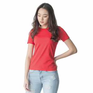 Women Supima Fitted Crew Neck Rubine Red-0