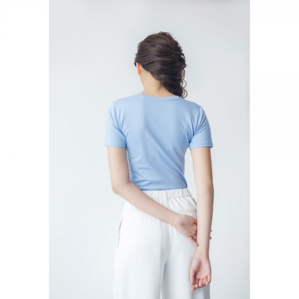 Women Supima Fitted Crew Neck Serenity Blue-8749